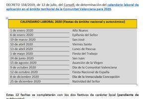 Calendario Laboral Javea 2020.Calendario Laboral De Ambito Territorial Comunitat Valenciana Apha